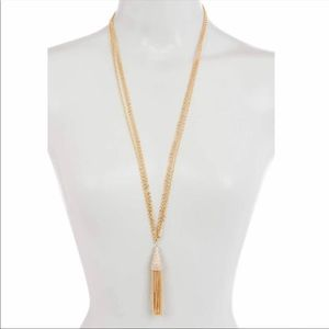 Savvy Cie Gold Plated Tassel Necklace